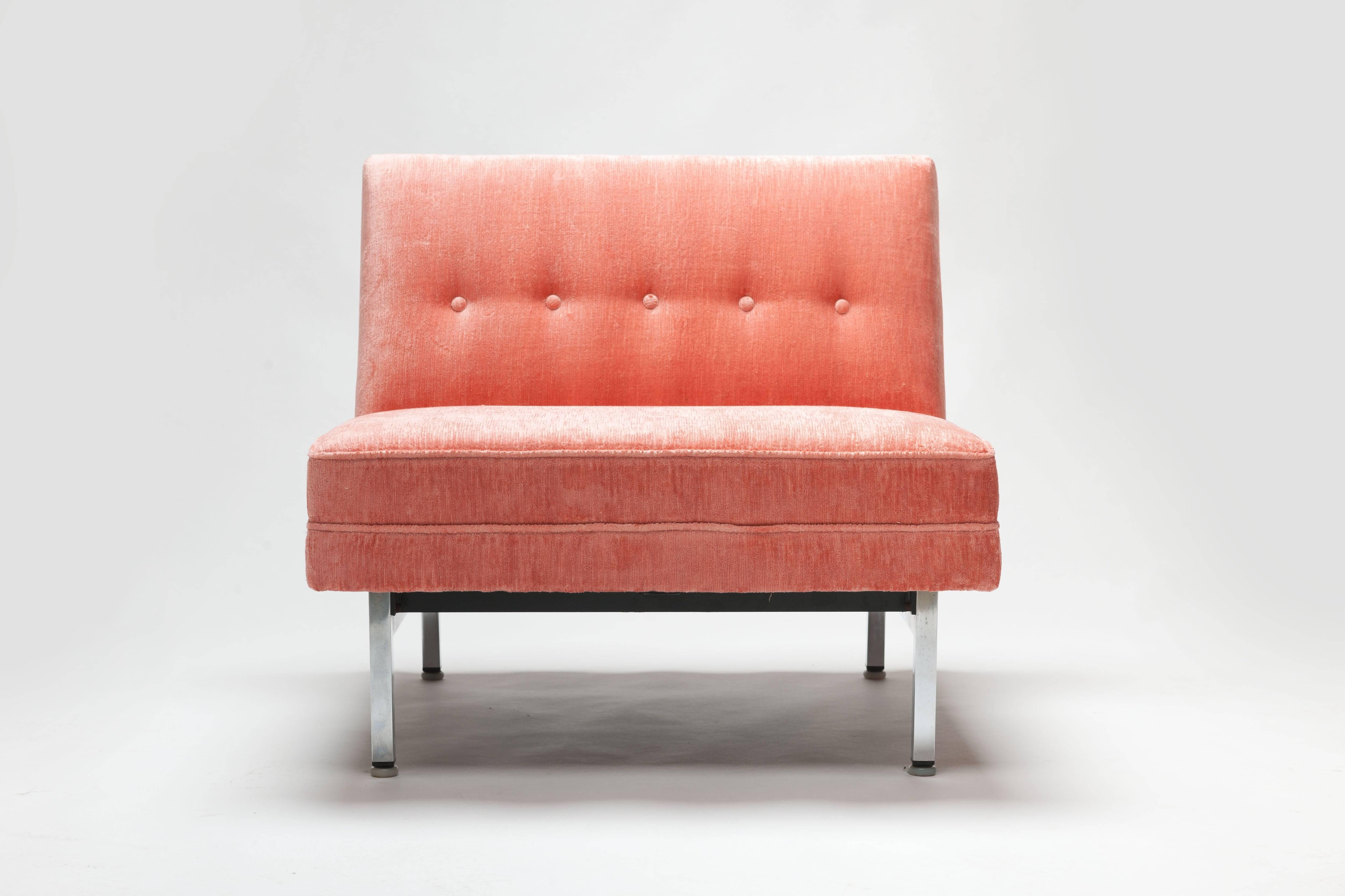 Pair Of Pink George Nelson Modular Seating Series Chairs By Herman Miller 3