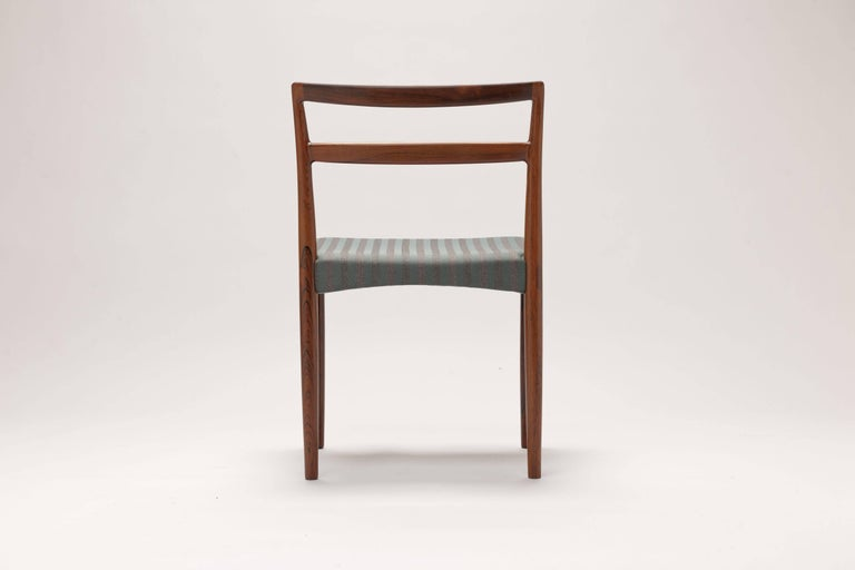 Fabric Danish Rosewood Dining Chairs by Harry Ostergaard For Sale