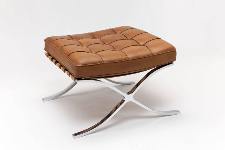 American Pair of 1960s Knoll Barcelona Stool's by Ludwig Mies vd Rohe in Cognac Leather For Sale