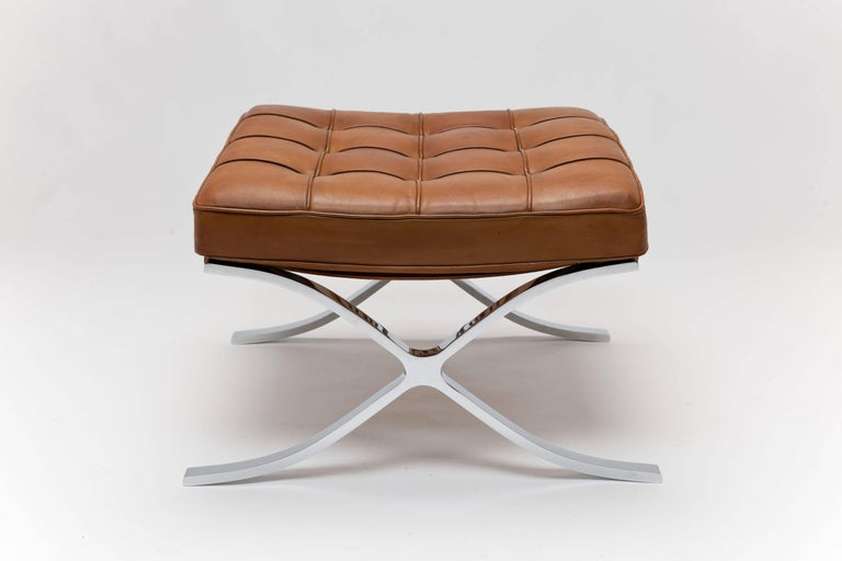 Mid-Century Modern Pair of 1960s Knoll Barcelona Stool's by Ludwig Mies vd Rohe in Cognac Leather For Sale