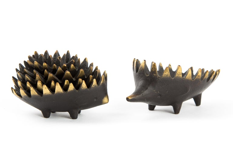 Austrian Hedgehog with Her Kids Walter Bosse Blackened Brass with Hertha Baller For Sale
