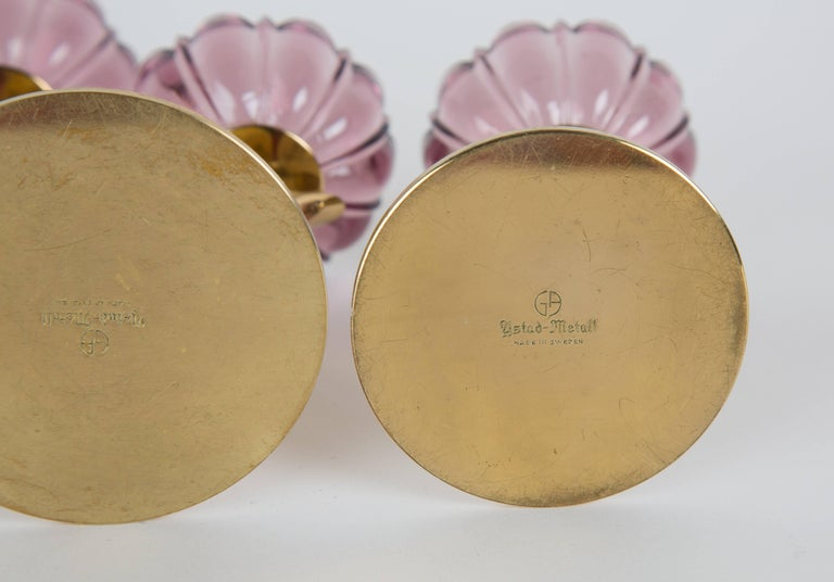 Swedish Set of Two Gunnar Ander for Ystad Metall Candleholders Flowers in Brass For Sale