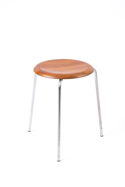 Arne Jacobsen Teak Stools With Three Legs For Fritz Hansen
