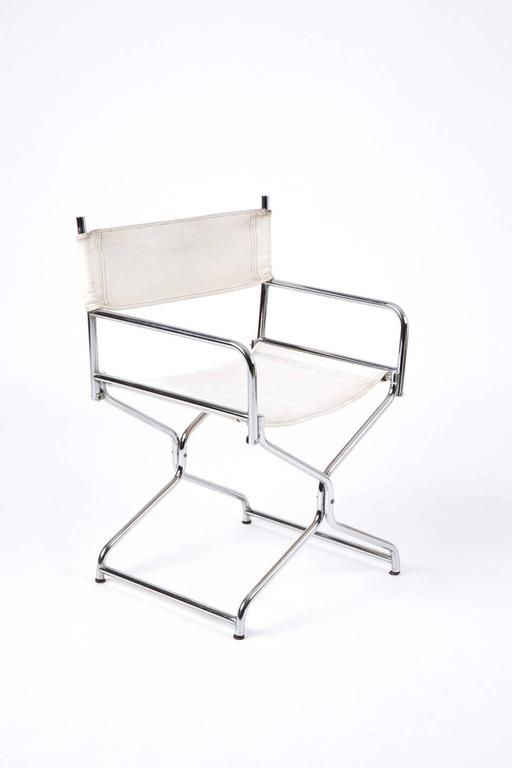 Directors Chair Leather And Chrome Plated Steel Tubes For