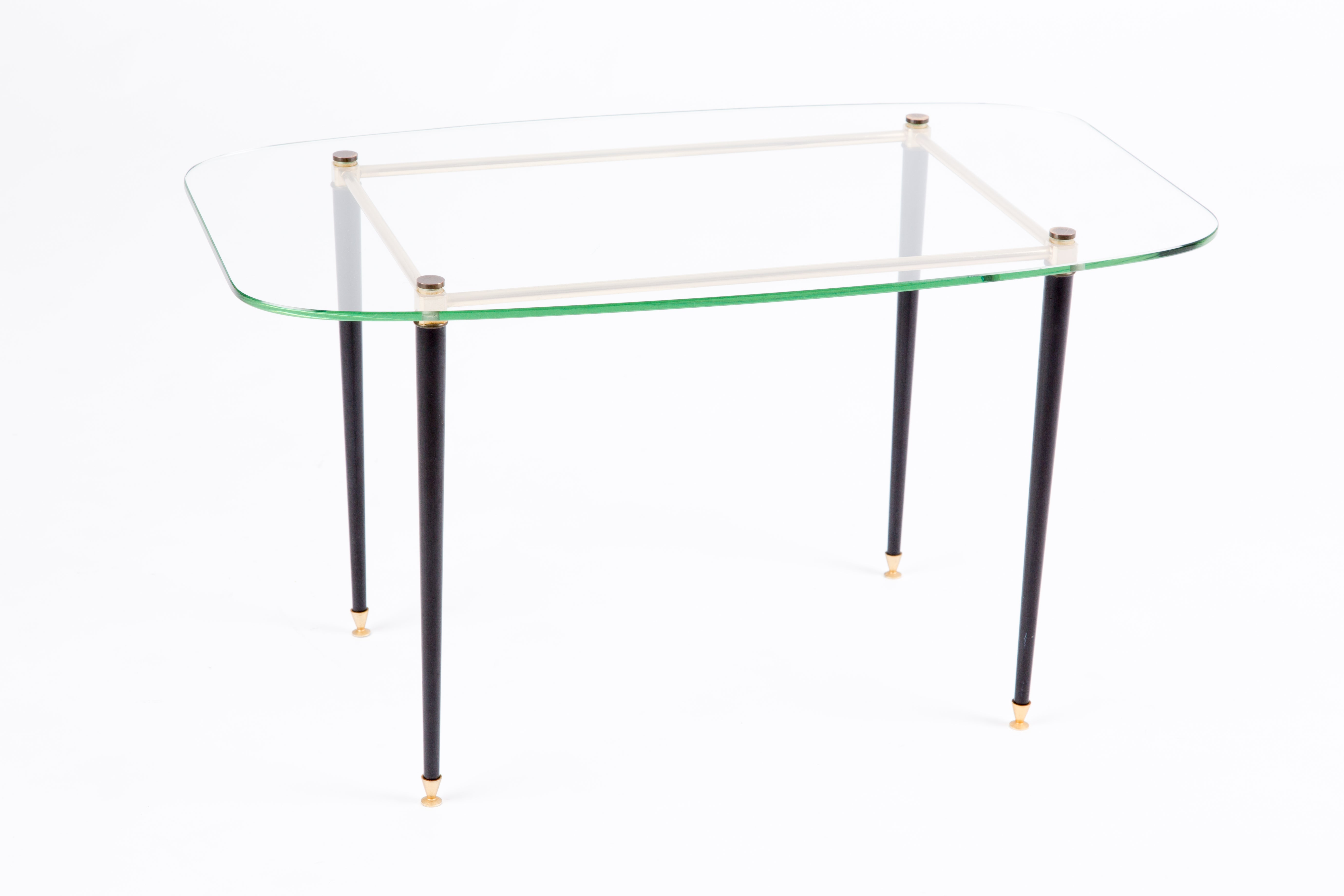 Side Table Van Glas.France Glas Table With Brass Legs Fontana Arte Style