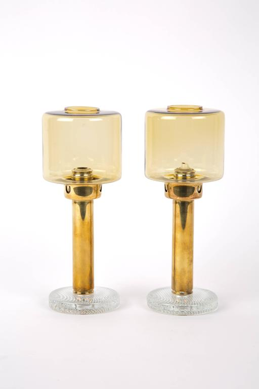 Hans Agne Jakobsson Set of Two Brass Candleholders for Markaryd In Good Condition For Sale In LA Arnhem, NL