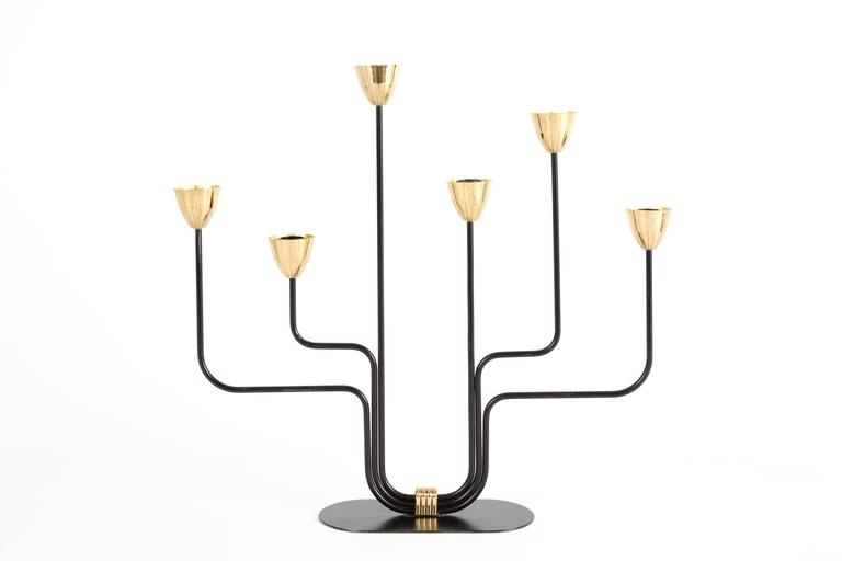 20th Century Pair of GUNNAR ANDER large candelabras Ystad Metall Sweden  candle holder For Sale