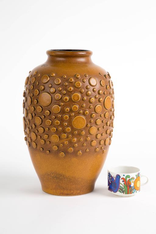 German HUGH BRUTALIST  polka dot vase ceramic For Sale