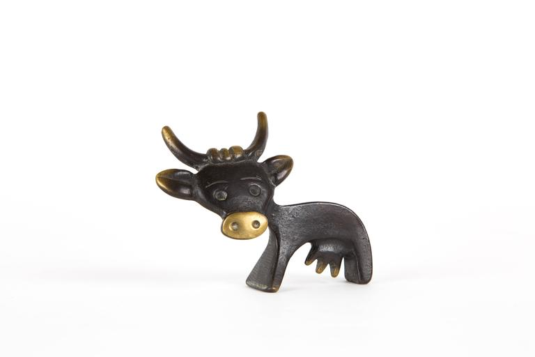 Mid-Century Modern WALTER BOSSE COW PENHOLDER for Hertha Baller Austria in real brass For Sale