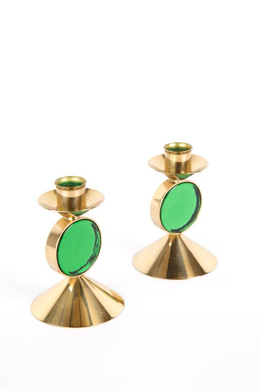 Set of GREEN GUNNAR ANDER candle holders for Ystad-Metall  in Brass In Good Condition For Sale In LA Arnhem, NL
