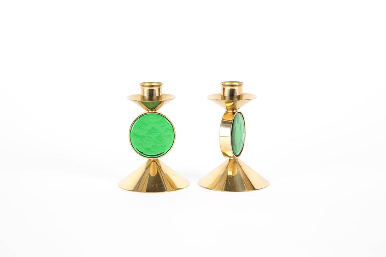 20th Century  Set of GREEN GUNNAR ANDER candle holders for Ystad-Metall  in Brass For Sale