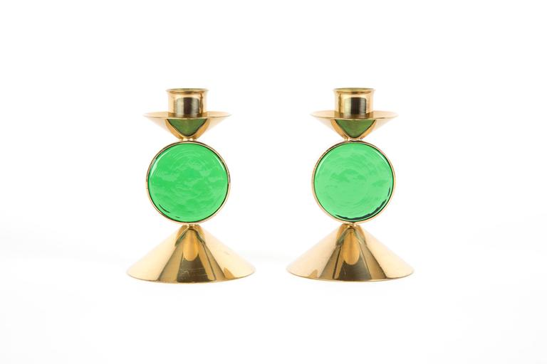 Set of GREEN GUNNAR ANDER candle holders for Ystad-Metall  in Brass For Sale 1