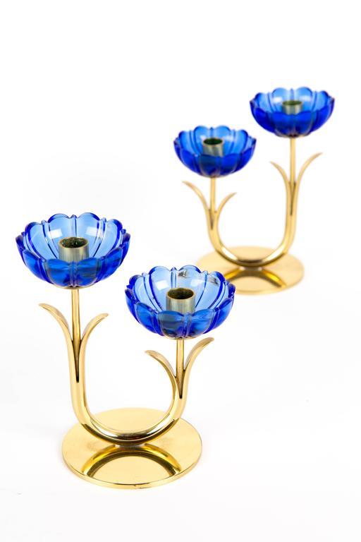 Scandinavian Modern GUNNAR ANDER CANDLE HOLDERS Sweden for Ystad Metall, blue flower  with brass For Sale
