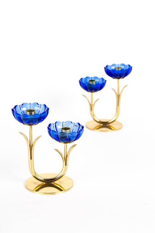 Swedish GUNNAR ANDER CANDLE HOLDERS Sweden for Ystad Metall, blue flower  with brass For Sale