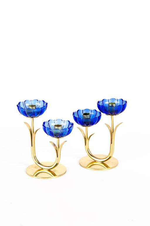 20th Century GUNNAR ANDER CANDLE HOLDERS Sweden for Ystad Metall, blue flower  with brass For Sale
