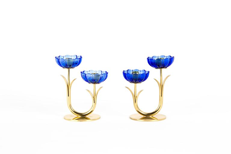 GUNNAR ANDER CANDLE HOLDERS Sweden for Ystad Metall, blue flower  with brass For Sale 1
