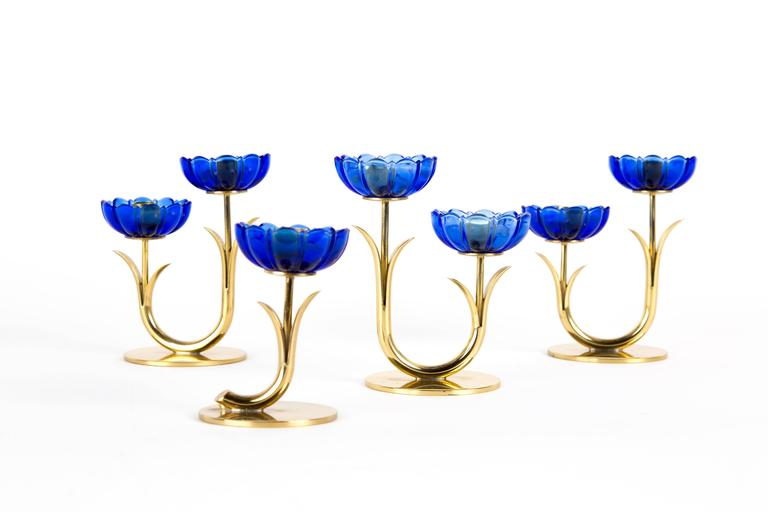 GUNNAR ANDER CANDLE HOLDERS Sweden for Ystad Metall, blue flower  with brass For Sale 2