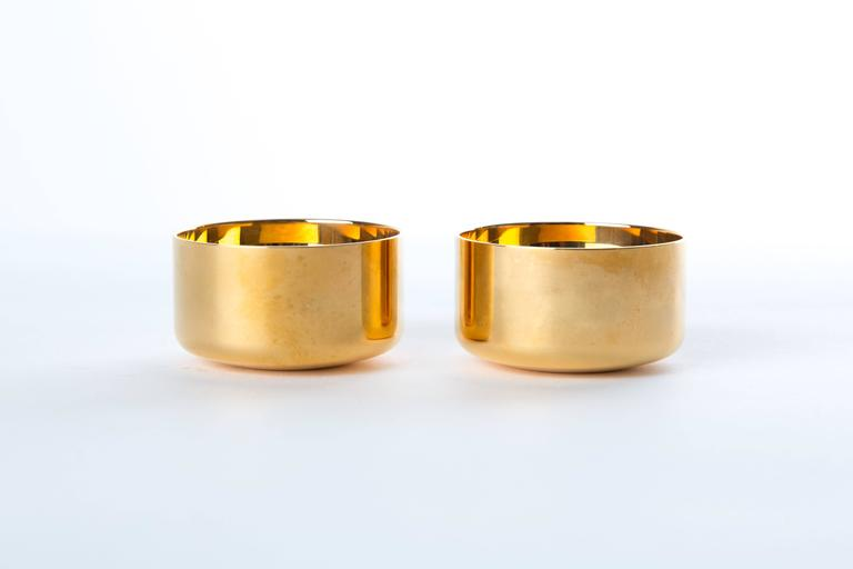 Scandinavian Modern  GOLD-PLATED DRINK CUPS Pierre Forssell for Skultuna  in original box For Sale
