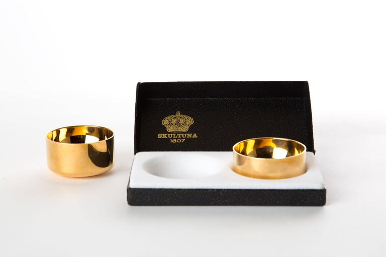 Swedish  GOLD-PLATED DRINK CUPS Pierre Forssell for Skultuna  in original box For Sale