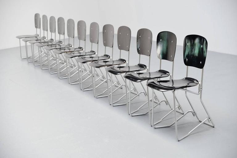 Armin Wirth Aluflex 12 Folding Chairs Switzerland, 1951 6