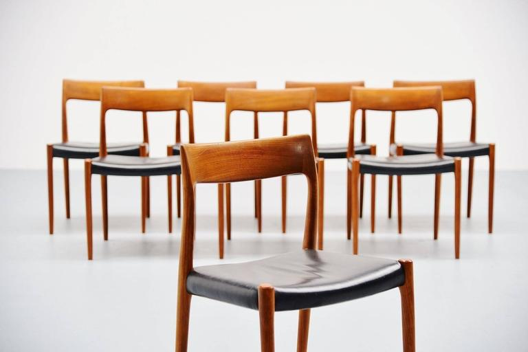 Superieur Very Nice And Large Set Of Eight Dining Chairs Model 77 Designed By Niels  Moller For
