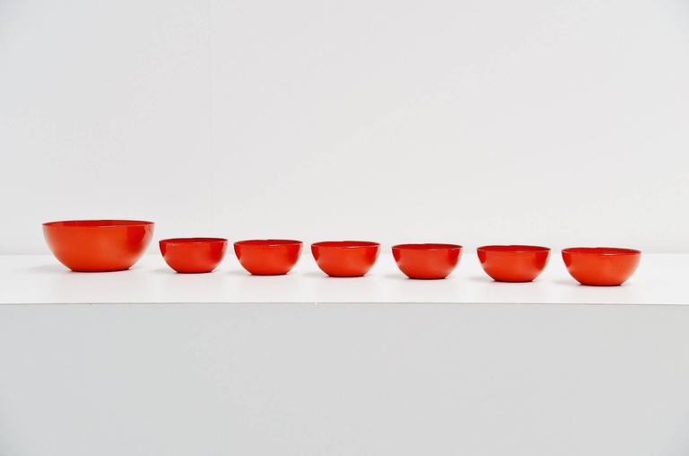 Enameled Arabia Finel Bowl Set by Kaj Franck, Finland, 1960 For Sale