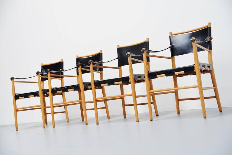 Mid-20th Century Italian Safari Chairs in Birch and Black Leather, 1960 For Sale