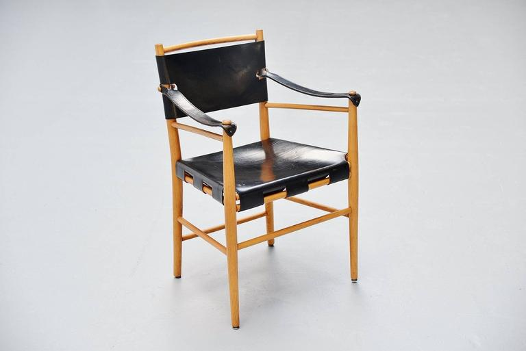Italian Safari Chairs in Birch and Black Leather, 1960 For Sale 1