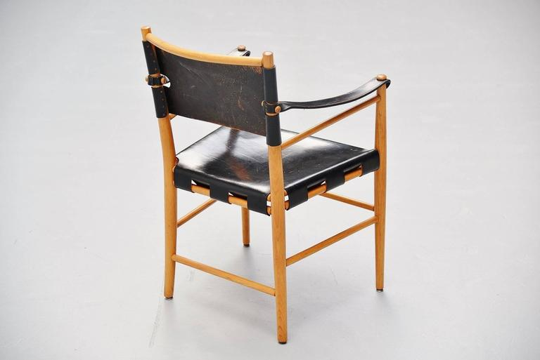 Italian Safari Chairs in Birch and Black Leather, 1960 For Sale 3