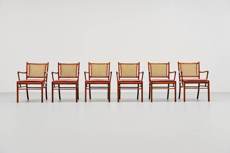 Scandinavian Modern Ole Wanscher Colonial Chairs Set, Poul Jeppesens, Denmark, 1960 For Sale