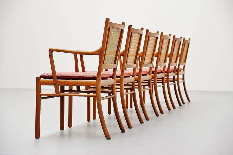Danish Ole Wanscher Colonial Chairs Set, Poul Jeppesens, Denmark, 1960 For Sale