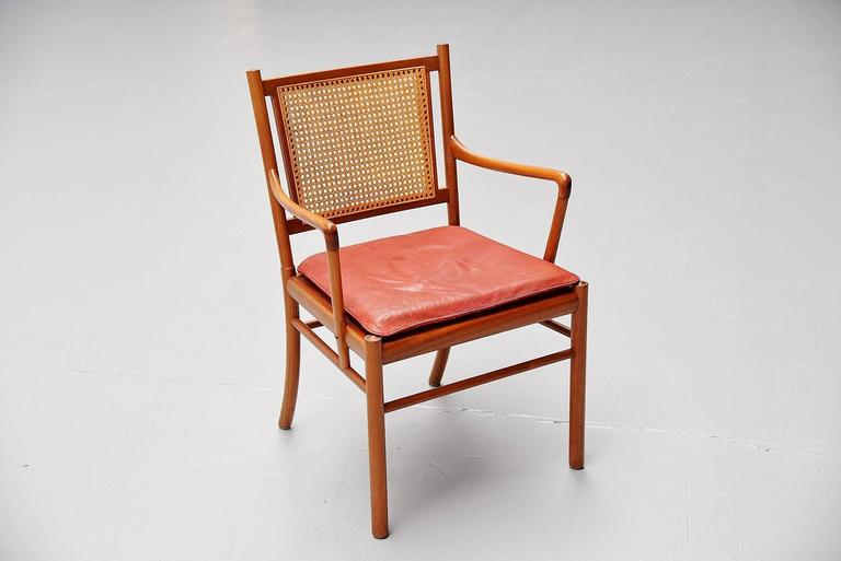 Cane Ole Wanscher Colonial Chairs Set, Poul Jeppesens, Denmark, 1960 For Sale