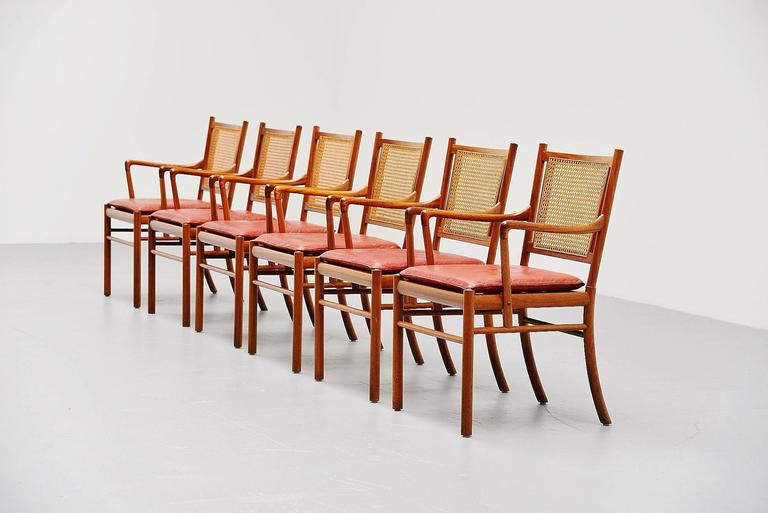 Highly rare set of six dining chairs, model colonial, designed by Ole Wanscher, produced by Poul Jeppesens Denmark 1960. These chairs are very hard to find especially in a set of six like these. The chairs have a solid teak wooden frame and have a