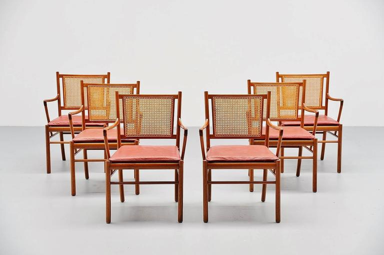 Mid-20th Century Ole Wanscher Colonial Chairs Set, Poul Jeppesens, Denmark, 1960 For Sale