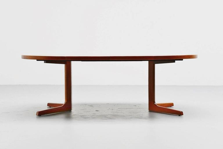 Very Nicely Made And Shaped Oval Dining Table Manufactured By AM Mobler,  Denmark, 1960