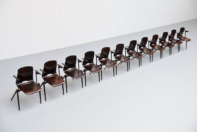 Pagholz Stacking Chairs with Arms Set of 12 Germany, 1970 5