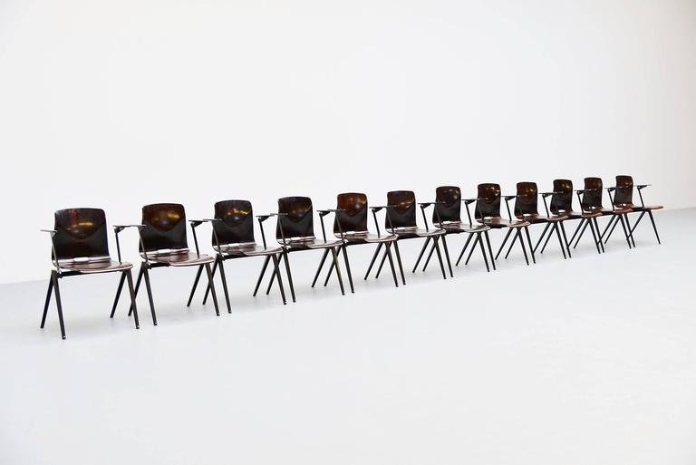 Lacquered Pagholz Stacking Chairs with Arms Set of 12 Germany, 1970 For Sale