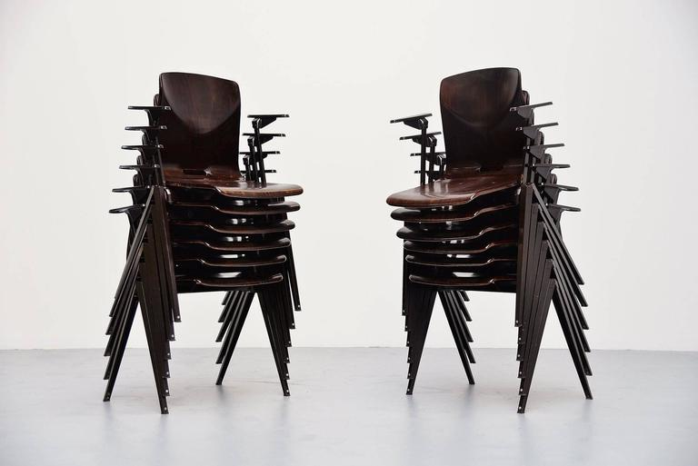 Pagholz Stacking Chairs with Arms Set of 12 Germany, 1970 10