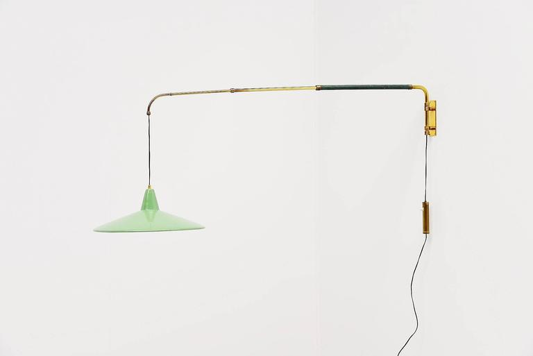 Aluminum Arredoluce Style Extendable Wall Lamp, Italy, 1950 For Sale