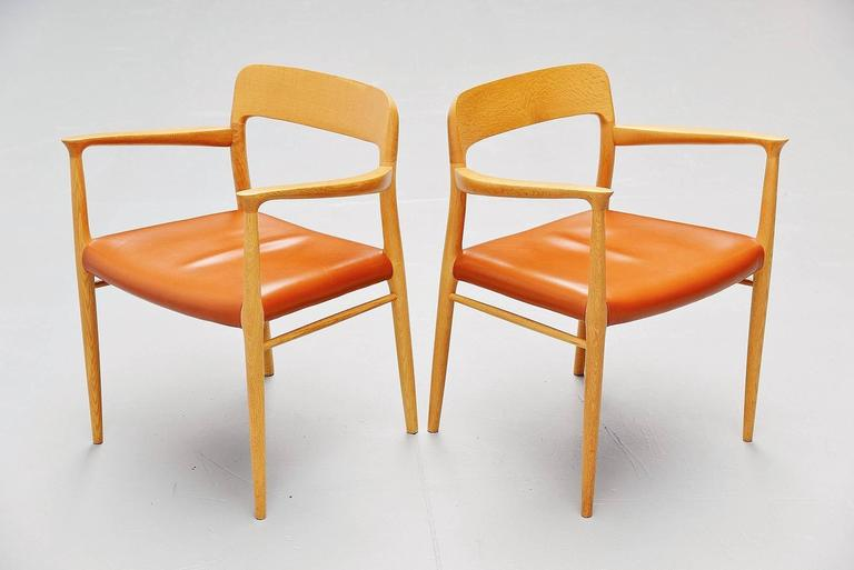 Danish Niels Moller Model 56 Armchairs, Denmark, 1954 For Sale