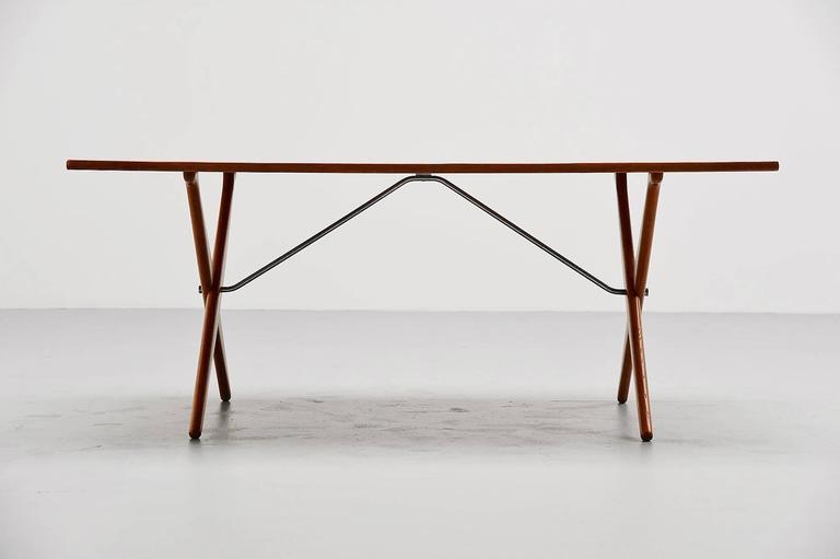 Scandinavian Modern Hans Wegner AT-303 Sawhorse Table Andreas Tuck, Denmark, 1955 For Sale
