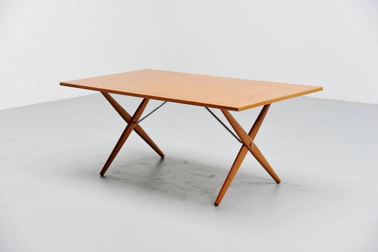 Danish Hans Wegner AT-303 Sawhorse Table Andreas Tuck, Denmark, 1955 For Sale