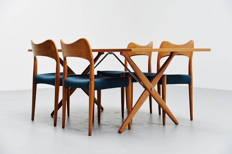 Oak Hans Wegner AT-303 Sawhorse Table Andreas Tuck, Denmark, 1955 For Sale