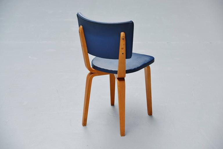 Cor Alons Plywood Dining Chairs in Blue Faux Leather, 1949 6