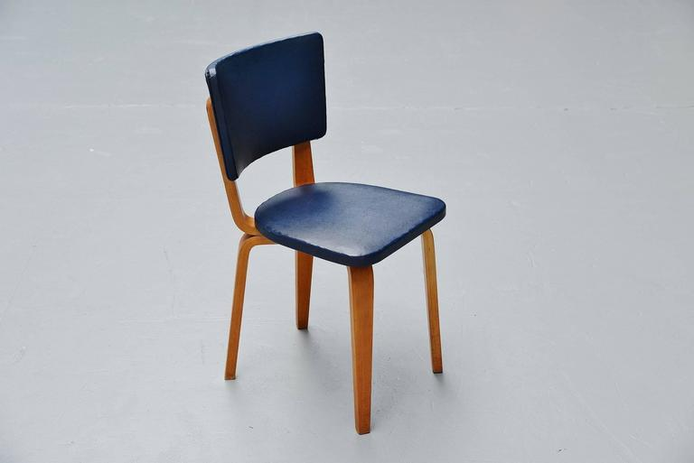 Cor Alons Plywood Dining Chairs in Blue Faux Leather, 1949 5