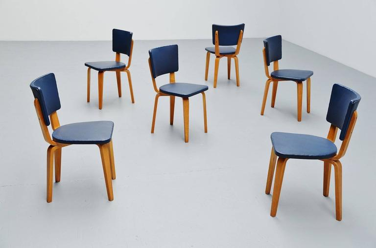 Cor Alons Plywood Dining Chairs in Blue Faux Leather, 1949 8