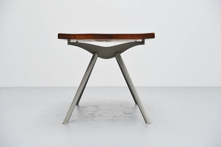 Mid-Century Modern Industrial Dining Table Prouve Perriand Style, France, 1960 For Sale