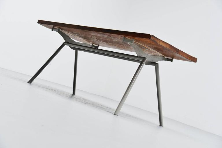 Metal Industrial Dining Table Prouve Perriand Style, France, 1960 For Sale