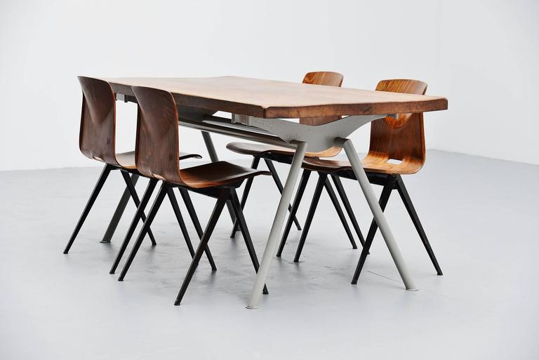 Industrial Dining Table Prouve Perriand Style, France, 1960 In Good Condition For Sale In Roosendaal, Noord Brabant
