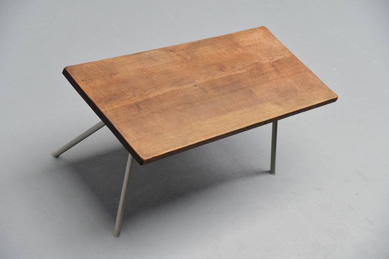 Cold-Painted Industrial Dining Table Prouve Perriand Style, France, 1960 For Sale